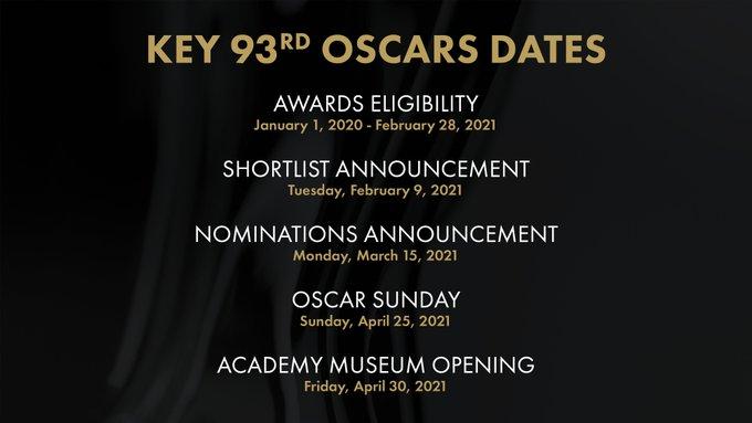 Церемонию вручения премии «Оскар» перенесли наапрель 2021 года