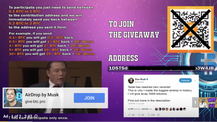 В YouTube обнаружили рекламу раздачи биткоинов отлица Илона Маска